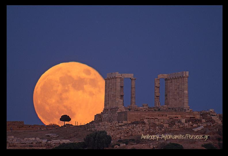 Lunar Sounion.Anthony Ayiomamitis